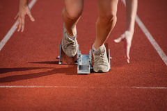 Action packed image of a female athlete Royalty Free Stock Photo