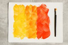 Free Action Painting. Abstract Hand-painted Yellow And Orange Art Background. Multicolored Paint Strokes And Brush Royalty Free Stock Image - 159589706