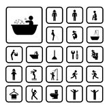 Action people and  hygiene icons set Royalty Free Stock Photography