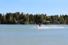 Action Photo Man on jet ski. Hobby and leisure Stock Photography