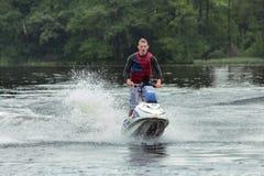 Action Photo Man on jet ski. Stock Photo