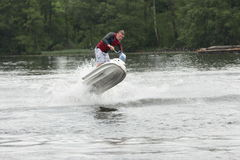 Action Photo Man on seadoo. Jet Ski Tricks. Stock Photos