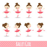8 action pink cute girl ballet cartoon vector design Royalty Free Stock Photo
