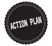 ACTION-PLAN文本,在黑贴纸邮票 库存例证