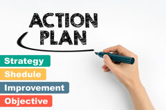 Action plan business concept. Hand with marker writing Stock Images