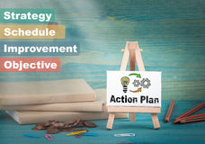 Action plan, business and strategic concept. notice board by the books and money, and notifications.  Royalty Free Stock Photography