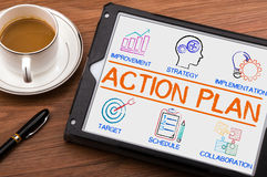Action Plan chart with keywords and elements. On tablet pc Royalty Free Stock Photo