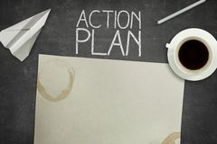 Action plan concept on black blackboard with empty Royalty Free Stock Images