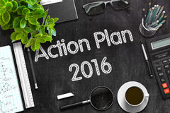 Action Plan 2016 Concept on Black Chalkboard. 3D Rendering. Royalty Free Stock Images