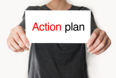 Action plan female showing card Stock Images