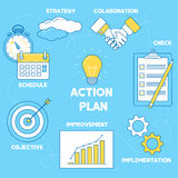 Action plan illustration. Line design strategy, collaboration, i Stock Photo