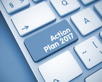Action Plan 2017 - Inscription on Keyboard Button. 3D. White Keyboard Key Showing the Text Action Plan 2017. Message on Keyboard Button. Service Concept: Action vector illustration
