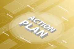 Action plan isometric 3d word text concept with some related text and dot connected - vector. Illustration vector illustration