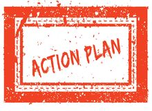 ACTION PLAN on orange square frame rubber stamp with grunge texture Royalty Free Stock Photos