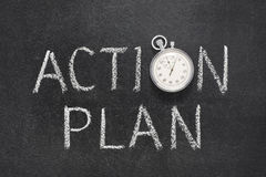 Action plan watch. Action plan phrase handwritten on chalkboard with vintage precise stopwatch used instead of O royalty free stock image