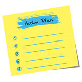 Action plan written on yellow note Stock Photography