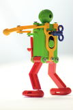 Action plastic Robot   on white Stock Image