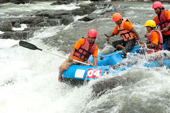 Action at rafting racing in Thailand. Royalty Free Stock Photo