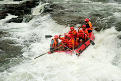 Action at rafting racing in Thailand. Stock Photo