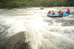 Action at rafting racing in Thailand. Stock Photos