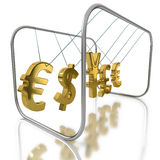 Action and reaction as currencies affect other currencies. Action and reaction as foreign currencies react and affect other foreign exchange currencies on white Stock Photo