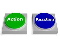 Action Reaction Buttons Shows Acting And Reacting. Action Reaction Buttons Showing Acting And Reacting Stock Images