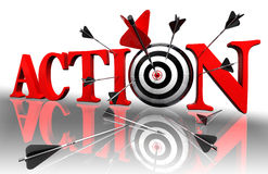 Action red word and conceptual target Stock Photos