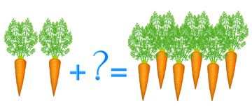 Action relationship of addition, examples with carrots. Educational game for children. Stock Photography