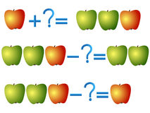 Action relationship of addition and subtraction, examples with apples. Stock Photos