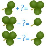 Action relationship of addition and subtraction, examples with green walnuts. Educational games for children. Action relationship of addition and subtraction Stock Image