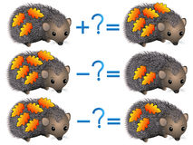Action relationship of addition and subtraction, examples with leaves on a hedgehog. Stock Photo