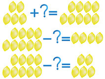 Action relationship of addition and subtraction, examples with lemons. Stock Photo