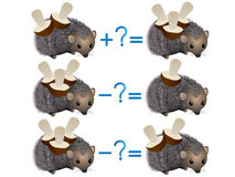 Action relationship of addition and subtraction, examples with mushrooms on a hedgehog. Royalty Free Stock Image