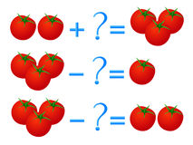 Action relationship of addition and subtraction, examples with tomatoes. Educational games for children. Royalty Free Stock Photo