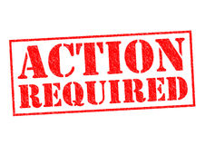ACTION REQUIRED. Red Rubber Stamp over a white background Stock Photo