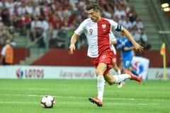 In action Robert Lewandowki. WARSAW, POLAND - JUNE 10, 2019: Qualifications Euro 2020  match Poland - Israel 4:0. In action Robert Lewandowki royalty free stock images