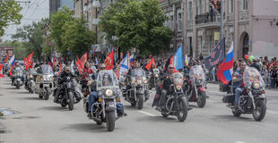 The action. ROSTOV-ON-DON, RUSSIA- MAY 09- The action Immortal Regiment on motorcycles on May 09,2016 in Rostov-on-Don Royalty Free Stock Photos