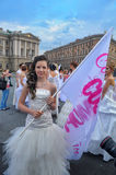 Action Runaway Bride Cosmopolitan 2012 Royalty Free Stock Image