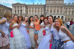 Action Runaway Bride Cosmopolitan 2012. Russia, St. Petersburg Royalty Free Stock Photography