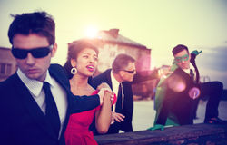 Action Scene of Business People Saving Woman Concept Royalty Free Stock Images