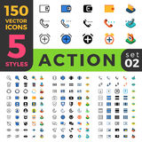 Action Settings 150 line flat isometric mobile web Stock Photo