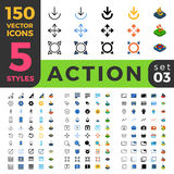 Action Settings 150 line flat isometric mobile web Royalty Free Stock Photos