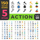 Action Settings 150 line flat isometric mobile web Stock Photos