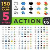 Action Settings 150 line flat isometric mobile web Royalty Free Stock Images