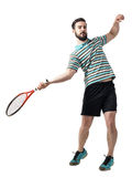 Action shot of tennis player hit ball in forehand pose Royalty Free Stock Image