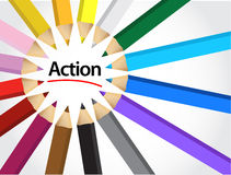 Action sign around pencil colors illustration Royalty Free Stock Photography