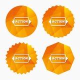 Action sign icon. Motivation button with arrow. Stock Photos