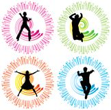 Action Silhouettes. 2 males and 2 females Stock Photography
