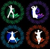 Action Silhouettes. 2 males and 2 females Royalty Free Stock Images