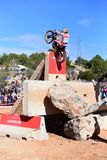 Action at the Spanish National Trial Championship 2018. LA NUCIA, SPAIN - FEBRUARY 11th 2018: World Champion Toni Bou on a Honda bike jumps over an obstacle at Stock Photos